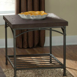 Liberty Furniture - Rustic Metal End Table with Storage Shelf -