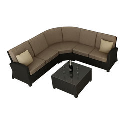 Forever Patio - Barbados 4 Piece Modern Patio Sectional Set, Spectrum Mushroom Cushions - This stylish set brings patio living to a higher plane. You will feel like a guest at a resort when you sink into the thick comfortable sofa cushions. Perfect for entertaining or just for lounging with a good book. The sectional can be broken up into three separate seating arrangements. This is truly function meeting fashion.