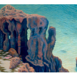 """Original oil painting by Patricia Waldygo - """"Cathedral Rocks"""" painting - A medium-size oil painting (26"""" X 46"""") of water-carved coral rocks above a turquoise cove in Bermuda. The main colors are pastels (aqua, pink, peach, pale yellow, pale purple) (Photo credit: Patricia Waldygo) FREE SHIPPING within the lower 48 U.S. States, which includes a wooden crate built to the painting's specifications. Return Policy: Paintings can be returned within one week for a full refund, minus the shipping and crate charges to the buyer that the artist paid for. Return shipping charges must be paid by the buyer."""