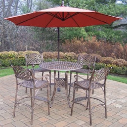 Oakland Living Elite Mississippi Cast Aluminum 5 Piece Patio Bar Set with Cantil - The Oakland Living Elite Mississippi Cast Aluminum 5 Piece Patio Bar Set with Cantilever Umbrella is a chic and magnetic way to draw your family and friends outdoors. Constructed from durable cast aluminum, this low-maintenance patio set is finished with a weather-resilient powder-coated finish in a charming antique bronze hue. The heavy-duty design ensures this set will adorn your home for years of style even through harsh weather conditions.Crafted from comfort as well as style, this handsome patio set features elevated bar-height seating with dipping armrests, inclined seats and smooth backrests. The round bar-height table seats up to four friends or family members and the awesome cantilever umbrella lets you enjoy this fun patio set in the sun or shade.