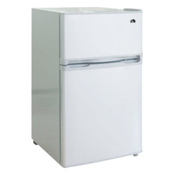Curtis - Igloo 3.2 Cubic-Foot 2 Door Fridge White - FR834I Stainless Steel Curtis Igloo 3.2 Cubic feet 2 Door Refrigerator and freezer has an ice-cube tray, vegetable drawer with glass shelf and slide out shelves that makes it very functional.  It also features a built-in door can holder and door bottle holder.  The white fridge has a flush back design and comes with a reversible door.  The CFC-free Igloo refrigerator has an adjustable thermostat for ease of use.