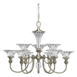 Thomasville Lighting - Thomasville Lighting P4507-101 Roxbury 9 Light 2 Tier Chandelier - Thomasville Lighting P4507-101 Nine Light Roxbury Double Tier ChandelierCombining shimmering clear crystal bell shaped shades and accents with a Classic Silver finish, your guests will be drawn to the elegance of this exquisite fixture. Featuring a unique Art Nouveau style inspired by the spirit and elegance of an early Hollywood ballroom, this opulent nine light, two tier chandelier will dazzle the eyes with its ostentatious display of dazzling light.Graceful fluted arms in a Classic Silver finish emanate from a central column of fluted crystal. Crowned with simple black and off -white shades as standard, while blue-green and red shades offer a stylish option.Thomasville Lighting P4507-101 Features: