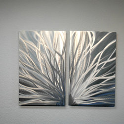Miles Shay - Metal Art Wall Art Decor Abstract Contemporary Modern- Radiance 2 Panel - This Abstract Metal Wall Art & Sculpture captures the interplay of the highlights and shadows and creates a new three dimensional sense of movement as your view it from different angles.