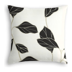 Black & White Modern Leaf Custom Throw Pillow - The every-style accent pillow: this Simple Throw Pillow works in any space.  Perfectly cut to be extra fluffy, you'll not only love admiring it from afar but snuggling up to it too!  We love it in this black & white leaf motif with graphic modern flare.