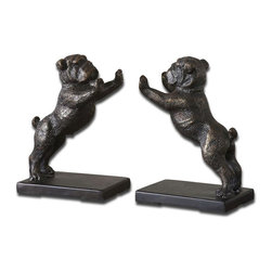Uttermost - Bulldogs Cast Iron Bookends, Set of 2 - These Adorable Bookends Are Made Of Cast Iron And Finished In Heavily, Distressed Golden Bronze With A Dark Gray Glaze.