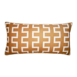 Squarefeathers - Exotic, Maze Pillow - The Exotic Collection is perfect for a large room with multiple furniture pieces. The brown tone color scheme is neutral for open areas. Made of faux linen print design with a ivory rope trim. It has a soft and pump feataher/down insert inclosed with a zipper. Like all of our products, this pillow is handmade, made to order exclusively in our studio right here in the USA.