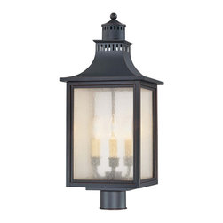 Karyl Pierce Paxton - Karyl Pierce Paxton 5-255-25 Monte Grande Transitional Outdoor Post Lantern - Our extremely popular Monte Grande design is now available in this new Slate finish with Pale Cream Seeded glass.