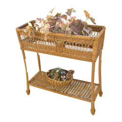 "Wicker Paradise - Cape Cod Wicker Rectangle Planter - Natural - The Cape Cod wicker plant stand can be used outdoors or indoors. It is made of resin wicker and built on an aluminum frame. It has a bottom shelf for additional storage and measures 31"" Wide, 12"" Deep, 31"" High."