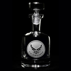 """Crystal Imagery, Inc. - Air Force Decanter, Whiskey, Scotch, Bourbon Engraved - Engraved Air Force whiskey, scotch, bourbon decanter is a unique military gift idea for retiring or promoted officer. Deeply carved using our sand carving technique, each of our custom whiskey, scotch or bourbon decanters are meticulously custom made to order making them the perfect gift for those seeking unique gift ideas for whiskey or scotch lovers - men and women alike. At 10.5"""" high, our spirit decanters hold 38 oz of your favorite tonic. A custom engraved decanter will be the favorite gift at any special gift giving occasion. Personalized or monogrammed scotch or whiskey decanters are a unique and special bridal shower gift, engagement gift, wedding gift or engagement gift. Also great gift idea for boyfriend or husband gifts, father's day gift, retirement gift or birthday for the classy man who has everything. Dishwasher safe."""
