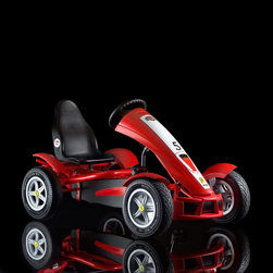 Berg USA - Berg USA Ferrari FXX Pedal Go Kart Riding Toy - 06.26.52.00 - Shop for Go Karts from Hayneedle.com! They don't have to know a foreign language to ride the Berg USA Ferrari FXX Racer Riding Toy but we're sure that eat my dust will sound pretty cool in Italian. This sporty pedal racer has an AF flywheel that lets them pedal forward coast and even go in reverse without ever taking their feet off the pedals. A metal frame supports the molded plastic styling that gives this kart its F1 style from the front wind skirt to the flared wheel arches. Officially licensed badges abound and air-filled tires with a grabby street tread will make sure that they stay on the ground even around the hairiest of corners. This toy has a weight limit of 200 lbs and is recommended for children ages 5 and up. Adults under 5-ft. 10-in. and under 200 lbs. can also ride comfortably.Additional FeaturesAF (automatic freewheel) hub for easy pedal controlSealed-bearing wheels for speedy rollingIncludes parking brake4 wheel mud guards and chain cover for safetyDashboard decals include speedometerNumber 5 decal and front and rear spoilers for racecar lookMolded black sport seatSpecifically designed for more leg roomSport-grip steering wheelCompact upright storageAbout Berg USAFounded in 2010 Berg USA is quickly becoming a recognized name in children's riding toys with their innovative designs and attention to safety that don't get in the way of their dedication to providing outdoor exercise for both kids and adults. Berg USA designs and offers a wide variety of high-quality pedal go-karts for home or commercial use ranging in size to comfortably accommodate ages 2 through adult as well as their versatile line of MOOV construction kits.Please note this product does not ship to Pennsylvania.