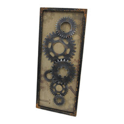 Steampunk Framed Metal Gears on Burlap Vertical Wall Hanging - This wall hanging complements industrial urban themed decor, and it makes a great gift for your favorite gearhead. It measures 31 1/2 inches long, 13 inches wide, 1 1/4 inches deep, and mounts to the wall vertically by metal triangle hangers on the back. The black wooden frame has a wonderfully distressed finish, while the inside of the frame is lined with burlap that is printed with images of gears and bolts. The metal gears are screwed into the wooden backing so you can be sure they won`t fall off over time. This piece looks great in homes and offices, and it is sure to be admired.
