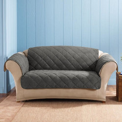 Sure Fit - Sure Fit Graphite Reversible Quilted / Sherpa Loveseat Cover - Update your home decor with this stylish and sophisticated loveseat cover from Sure Fit. A durable graphite polyester defines this reversible cover.