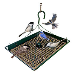 Zenport - Zenport 3-in-1 Platform Bird Seed Feeder - The Zenport Z203009 3 in 1 Platform feeder is the most versatile feeder, offering multiple ways to feed birds. Open design to view birds from any angle. Mount to bird feeder pole or hang from a hook. Mount with ground post for feeding squirrels, critters and ground feeding birds. Durable, heavy duty metal construction with weather resistant finish. Removable grid for use to keep larger birds from throwing seed on the ground, remove grid when feeding squirrels and critters.