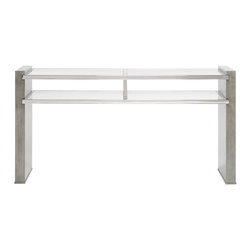 Vanguard - Town Console Table - Simplicity certainly looks chic when it comes to this modern table. Fantastic as a vanity in your bedroom, it's also great for displaying photos against a wall or behind the sofa.