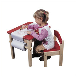 Guidecraft - Guidecraft Red Art Table and Chair Set - Guidecraft - Kids' Table & Chair Sets - G98049 - Use this solid wood table for coloring painting or drawing can also be used without paper as a project or snack table. This sturdy hardwood table has a smooth fine grain that makes it exceptionally durable and easy to clean.Features: