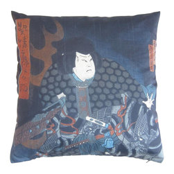 Poetic Pillow - Kabuki Scene I (Diptych) Hokushu Pillow - Transform any space with a pillow from Poetic Pillow. Each pillow is inspired by fine works of art and printed on the front and back.   Covers are made of pre-shrunk satin-like polyester fabric. All seams are finished to prevent fraying and pillow covers have a knife edge finish.. A concealed zipper allows for ease of inputting pillow inserts.  A duck feather insert is included for soft yet supportive feel.  Cushion inserts are encased in a cotton cover and filled with 100% duck feather.  All research, design and packaging is completed in Oakland, California.