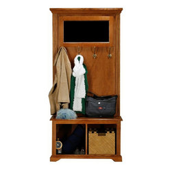 Eagle Furniture Manufacturers - Oak Ridge Hall Tree w Mirror (Light Oak) - Finish: Light Oak. Includes tree top and tree base. Tree top consists of mirror and four double coat hooks. Design has decorative molding and bead board detailing. Made from oak solids and veneers. Warranty: Eagle's products are guaranteed against material defects for one year from date of delivery to the dealer. Made in USA. No assembly required. Top: 37.5 in. W x 2.75 in. D x 54.75 in. H (41.3 lbs.). Base: 36 in. W x 16.5 in. D x 21 in. H (41.3 lbs.)The Oak Ridge collection combines American oak hardwood with updated contemporary styling. Heavy crown molding, sleek lines, fluted side molding, black brushed metal hardware, solid oak frames and solid oak recessed doors give this transitional collection a style all its own