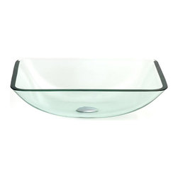 "BathAuthority LLC dba Dreamline - Geometric Square Vessel Sink - Select a natural color glass vessel sink from over thirty unique designs. Each sink is made of tempered 1/2"" clear glass"