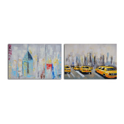 Penthouse seclusion Hand Painted 2 Piece Canvas Set - Perfect for your penthouse apartment or industrial loft, these modern works of art capture the vibrancy of city life in moody, muted shades. Each is a hand-painted original, so subtle variations in tone and texture are to be expected and celebrated.