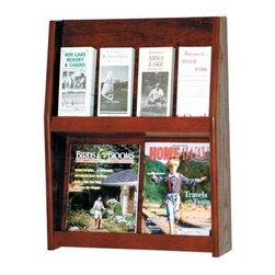 Wooden Mallet - Two-Tier Oak Magazine & Brochure Rack w Divid - Finish: Light OakDisplay magazines, brochures and more visibly from this sturdy oak and acrylic magazine rack, featuring removable dividers allowing you to create the right display to suit your space, whether it's a doctor's office, salon or hotel. The piece is crafted of oak and is available in your choice of finish options. All racks are pre-drilled with hardware included for simple wall mounting. Removable dividers keep literature and magazines neat and orderly. Displays 4 in. brochures or 8.5 in. x 11 in. and wider literature. Furniture quality construction with solid oak sides and shelves sealed in a durable state-of-the-art finish. Pictured in Dark Red Mahogany. No assembly required. Optional floor stand is not included for 49 in. tall displays. Floor Stand: 16 in. D x 7.5 in. W x 2 in. H (10 lbs.). 4.75 in. D x 19.5 in. W x 24.5 in. H (15 lbs.). 1-Year warrantyWooden Mallet's full-view literature displays are a classic and beautiful way to display your literature. Slanted back shelves allow full view of literature while keeping it neat and organized. money