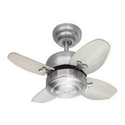 """Monte Carlo Fans - Monte Carlo Mini 20-Inch Ceiling Fan - 4MC20BS - This small, compact ceiling fan is perfect for creating airflow in those small bedrooms, bathrooms, and hallways. There are two ways to hang this fan; with the downrod or by hugger flushmount style. The hanging height by downrod is 12-1/32""""-inches. The hanging height by flushmount is 7-3/4-inches which is a great choice for applications where a low-profile ceiling fan is needed. The blade pitch is 12�. Light kits are available. Dry location rated."""