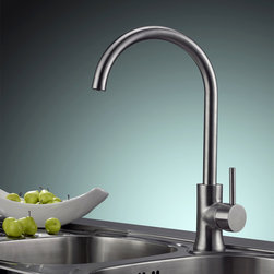 Brewst Stainless Steel Single Handle Kitchen Faucet - This Brewst kitchen faucet features high quality 304 solid stainless steel lead-free construction. The brushed nickel finish gives it a sleek and sophisticated appearance. Spout swivels 360-degrees for greater reach.