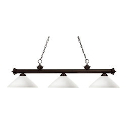 Three Light Bronze Matte Opal Glass Island Light - Elegant and traditional best describes this beautiful three light fixture. Finished in oil rubbed bronze and paired with angle mottle opal glass shades, this three light fixture would be equally at home in the game room, or anywhere else in the house needing a touch of timeless charm. 72 inches of chain per side is included to ensure a perfect hanging height.