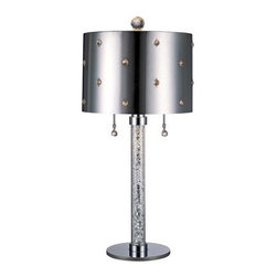 Kovacs - Kovacs GK P028  Table Lamp from the Bling Bling Collection - Bling Bling Collection:  Table LampArt Deco / Retro ThemedChrome with Swarovski Crystal and Perforated Steel Shade with 12 Inch DiameterDimensions:  17 Inches High and 12 Inches HighRequired:  2-100W Medium Base BulbsOn/Off Pull ChainComplimentary Lighting:  Place with Other Items in the Bling Bling Collection