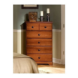 Standard Furniture - Orchard Park Chest of Drawers w 5-Drawer Stor - Refined lineage and interesting detail throughout create a dynamic straight forward design. Beautiful Cherry Star color finish. Contrasting knobs in a dark brown color finish with simulated wood graining. Artistic leaf-and-vine embossing decorates the headboard and dresser mirror. French dovetail construction throughout enhances durability. Roller side drawer guides provide ease and convenience. Top drawers are felt lined to protect delicate items. Quality wood products bonded together creates durable construction throughout. Surfaces clean easily with a soft cloth. Products may contain some plastic parts. Has five drawers for storage. 16 in. W x 30 in. L x 47 in. H (115 lbs.)Orchard Park, by Frisco Manufacturing, is inspired by the rich American tradition of Shaker styling is evident in the clean lines and simplicity of the group.