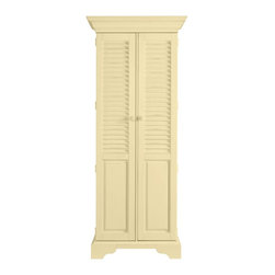 Stanley Furniture - Coastal Living Cottage-Summerhouse Utility Cabinet - Down in the Low Country, hidden style like this is called a lagniappe - that something special you didn't quite expect. In our case, painted louvered doors reveal two adjustable storage shelves over four roomy tray drawers. Perfect for linens, CDs, spare silver or even cleaning products. Now that would be unexpected.