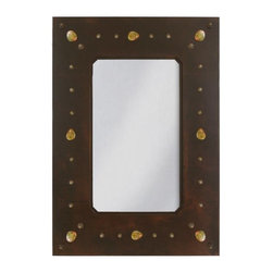 """Ironwood - Wrought Iron Stone & Nail Rustic Wall Mirror 36"""" - This  unique  rustic  iron  frame  mirror  frame  features  a  polished  rock  and  nail  head  motif.  Solid  Metal.  Made  in  America."""