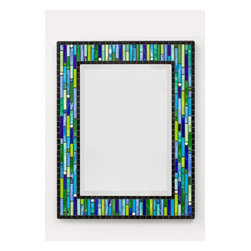 Other Mosaic Mirrors - Custom glass mosaic mirror in a black, lime green, apple green, aqua blue, sky blue, and white color scheme.  Materials used include stained glass, glass rounds, recycled glass gems, and glass mosaic tile.  Custom sizes and color schemes available; pricing varies upon size.