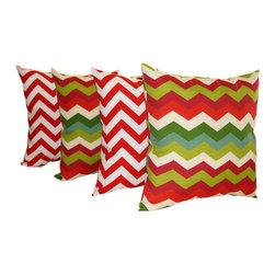 Land of Pillows - Chevron Zig Zag  Cherry & Panama Wave Jewel Set of 4 Outdoor Pillows, 18x18 - Fabric Designer - Premier Prints