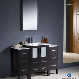 "Fresca - Fresca Torino 48"" Modern Bathroom Vanity w/ Two Side Cabinets & Integrated Sink - Fresca is pleased to usher in a new age of customization with the introduction of its Torino line. The frosted glass panels of the doors balance out the sleek and modern lines of Torino, allowing it to fit perfectly in both 'Town' and 'Country' décor.The Fresco Torino bathroom vanity is 48"" wide and 33.75"" high, and boasts 18.13"" deep under-sink storage space – perfect for towels and other bathroom necessities. This bathroom vanity is completed with a 20.75"" wide x 31.5"" high x 1.25"" deep wall mounted mirror for optimal function and style.Items included: Main Vanity Cabinet(s), Countertop(s), Vessel/Integrated Sink(s), Mirror(s), Faucet(s), P-Trap and Pop-Up Drain(s), Standard hardware needed for installation.DecorPlanet is proud to offer Fresca Bathroom products. Fresca is a leading manufacturer of high-quality vanities, accessories, toilets, faucets, and everything else to give you the freshest bathroom in the neighborhood. Fresca is known for carrying the latest and most popular styles in modern and contemporary bathroom design that are made with high quality materials and superior workmanship."