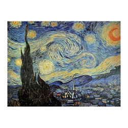 Oriental Unlimited - Starry Night Canvas Wall Art - An outstanding masterpiece of Dutch impressionist art. Art quality canvas print mounted on a sturdy mitered wood frame. From an eclectic selection of classic art and unique photographs. 31.5 in. W x 1 in. D x 23.5 in. HHere we offer a high quality reproduction one of Vincent Van Gogh's most famous and beloved works. It may be the only painting to inspire a platinum record. The moon and stars swirl over the village, with the point of the steeple leaning left. A warning though: once you hang it, set aside some time to be drawn into it.
