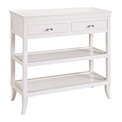 Sterling Industries - Sterling Industries 6042716 Tamara Hall - White - The Top Has A Gracefully Curved, Removable Serving Tray. Also Features Two Drawers And Two Shelves. Is Beautiful As A Hall, Serving Or Bar Table.  Console Table (1)