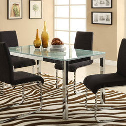 Homelegance - Homelegance Knox 5 Piece Crackle Glass Top Dining Room Set w/ Charcoal Chairs - No your eyes are not deceiving you. The crackle glass tabletop of the Knox Collection is a bold and unexpected statement in your ultra modern dining room. The coordinating chairs - available in either black bi-cast vinyl or charcoal fabric and rectangular table top are supported by chrome framing. The shattered glass effect is bound to be a conversation piece as you sit with family and friends for a great meal.