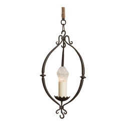 Kathy Kuo Home - Durham French Country Wrought Iron Mini Pendant - Hand forged wrought iron is finished in antique black rust for maximum effect from minimal space. The petite pendant illuminates a breakfast nook or a cozy corner with a single candle light.