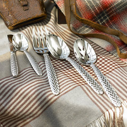 Equestrian Braid Hostess Set - This classic pattern has been a favorite of mine for years. The braided handles add interest to a streamlined style that complements a variety of dinnerware patterns.