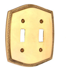 Renovators Supply - Switchplates Bright Solid Brass Double Toggle Switch Plate - Switchplate. Colonial Roped Double (2) toggle, two (2) gang switch plate. This Colonial Roped bright brass wallplate is solid cast brass. It is polished and lacquered.