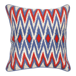 "Villa - Montauk Zig Zag Pillow Set of 2 - The Montauk pillow accents modern interiors with exotic flair. In vibrant red, blue and white hues, fabulous embroidered zig zags make an alluring statement. 22""W x 22""H; Set of two; 100% linen; Includes 95/5 feather down insert; Hidden zipper closure; Hand wash only"