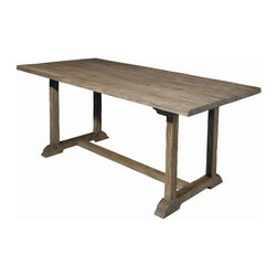 EuroLux Home - Reclaimed Old Elm Trestle Style Dining - Product Details