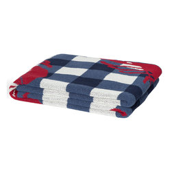 "In 2 Green - Eco Lobster Picnic Throw, Slate - Our throws are all knit in the USA with a blend of recycled cotton yarn (74% recycled cotton yarn, 24% acrylic, 2% other), generously sized at 50"" x 60"" and machine wash and dry...how easy is that!"