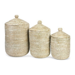 "IMAX - Aria Sea Grass Storage Baskets - Set of 3 - The simple, elegant style of this set of three sea grass lidded baskets looks great in a variety of room settings. Item Dimensions: (17.5-21.75-25.75""h x 10.25-12.75-15""d)"