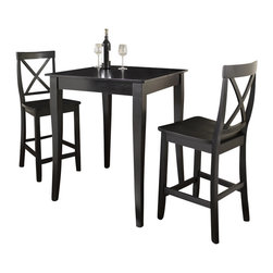 Crosley Furniture - 3 Pc Pub Dining Set w Cabriole Leg and X-Back - Includes Pub Table and 2 X-Back Stools in Black. Solid Hardwood & Veneer Construction Table . Solid Hardwood Stools. Hand Rubbed, Multi-Step Finish. Solid Hardwood, Carved Cabriole Style Legs. Shaped Back for Comfort. Table Dimensions: 36 in. H x 32 in. W x 32 in. D. Stool Dimensions: 40 in. H x 18.5 in. W x 22.5 in. DConstucted of solid hardwood and wood veneers, the 3 piece Pub / High Dining set is built to last. Whether you are looking for dining for two, or just a great addition to the basement or bar area, this set is sure to add a touch of style to any area of your home.