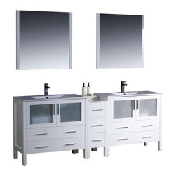 "Fresca - Fresca Torino 84"" Modern Double Sink Bathroom Vanity w/ One Side Cabinet & Two I - Fresca is pleased to usher in a new age of customization with the introduction of its Torino line. The frosted glass panels of the doors balance out the sleek and modern lines of Torino, making it fit perfectly in either Town or Country dcor."