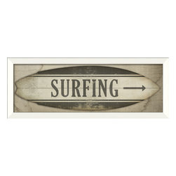 "The Artwork Factory - ""Surfing"" (Surfboard) Print - Surf City can be anywhere you hang this framed, museum-quality print. And because it's printed on fade-resistant paper, it can bask in the sun for years and still look great."