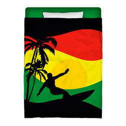 "Made In USA ""Surfer Mon"" Surfer Bedding Twin Comforter - Surf Into Your Bed With This Premium Reggae-Rasta ""Surfer Mon"" Twin Size Comforter From Our Surfer Bedding Bed and Bath Collection."