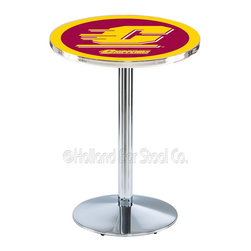 Holland Bar Stool - Holland Bar Stool L214 - Chrome Central Michigan Pub Table - L214 - Chrome Central Michigan Pub Table belongs to College Collection by Holland Bar Stool Made for the ultimate sports fan, impress your buddies with this knockout from Holland Bar Stool. This L214 Central Michigan table with round base provides a commercial quality piece to for your Man Cave. You can't find a higher quality logo table on the market. The plating grade steel used to build the frame ensures it will withstand the abuse of the rowdiest of friends for years to come. The structure is triple chrome plated to ensure a rich, sleek, long lasting finish. If you're finishing your bar or game room, do it right with a table from Holland Bar Stool. Pub Table (1)
