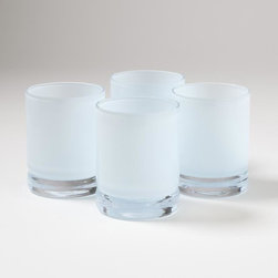 Studio A - Studio A S/4 Lab DOF Glasses-Opaline Blue - Hand-blown, cased Polish glass.*Ice bucket sold separately